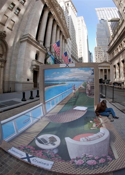 Celebrity Cruises 3-D Street Art Installation at NYSE