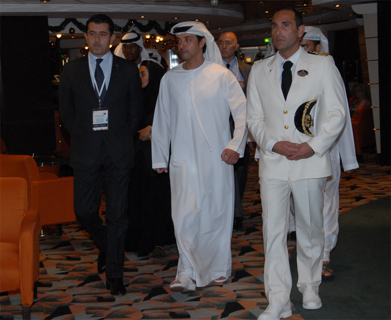 Onorato visiting MSC Musica with His Highness Sheikh Hazza bin Zayed Al Nahyan.