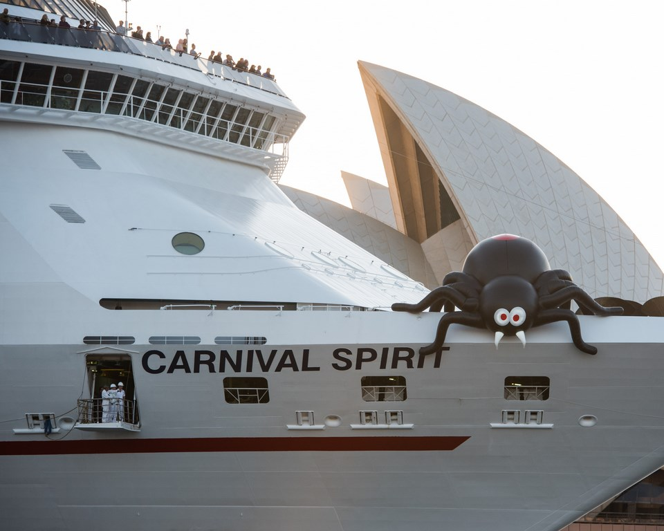 Giant Spider On Carnival Spirit To Celebrate Halloween