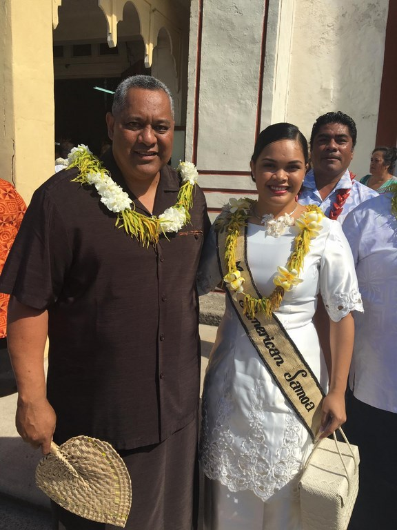 American Samoa Lt. Govenor Lemanu Peleti Mauga with Miss American Samoa, Antonina Lilomaiava. She will help greet the passengers on the Costa Atlantica.