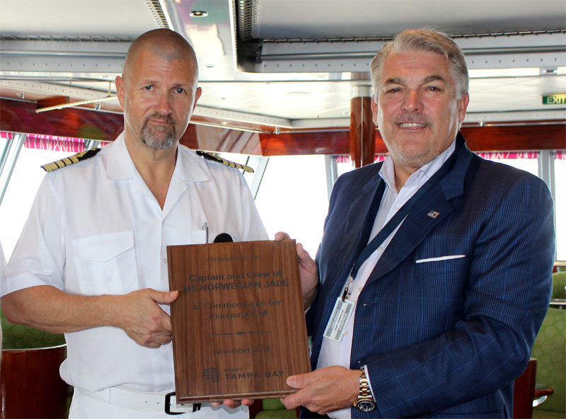 The 2,402-passenger Norwegian Jade, will home port in Tampa from December 2016 through April 2017. Port President/CEO Paul Anderson presents inaugural call plaque to Captain Kim Karlsson.