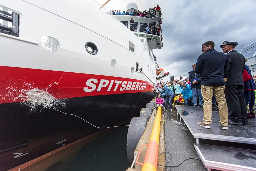 Hurtigruten Christens New Ship in Svolvaer