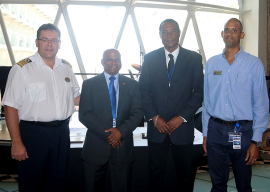 Pictured (from left to right): Captain Per Kristoffersen; Minister of Tourism, International Trade, Industry and Commerce, The Hon. Lindsay F.P. Grant; CEO of SCASPA, Don James; and Managing Director of Delisle Walwyn, Clayton Perkins.