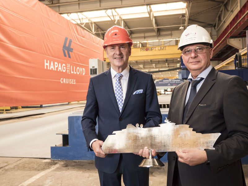 As part of the official ceremony in Tulcea, Tudorel Topa, Senior Vice President and Yard Director General Department VARD, presented the Hapag-Lloyd Cruises' management team with a symbolic steel silhouette of the ship.