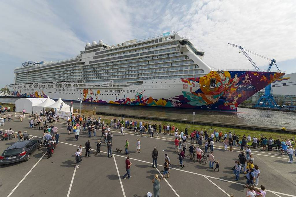 World Dream Floated Out Of Building Hall Cruise Industry