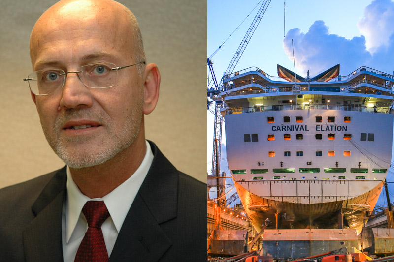 Peter Fetten (left) and the Carnival Elation in drydock (right)