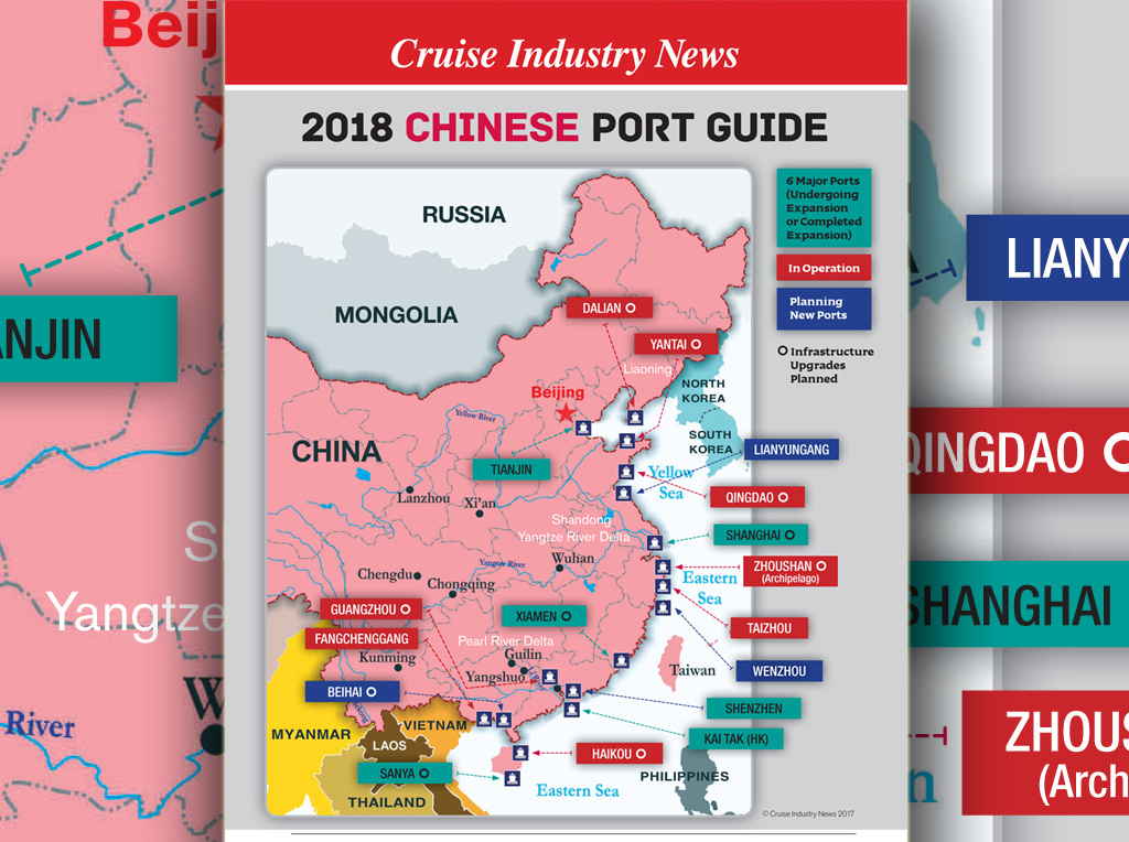 map of ports in china New Map Guide To Key Chinese Cruise Ports Cruise Industry News map of ports in china