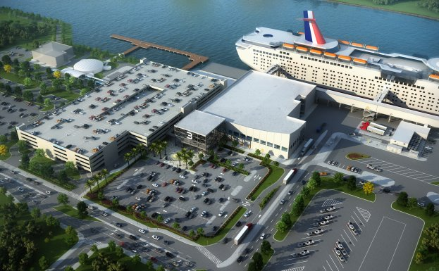 Artist's rendering of Port Canaveral's new Cruise Terminal 3, slated for completion in mid-2020, will be the homeport for Carnival Cruise Line's newest and largest class of ship