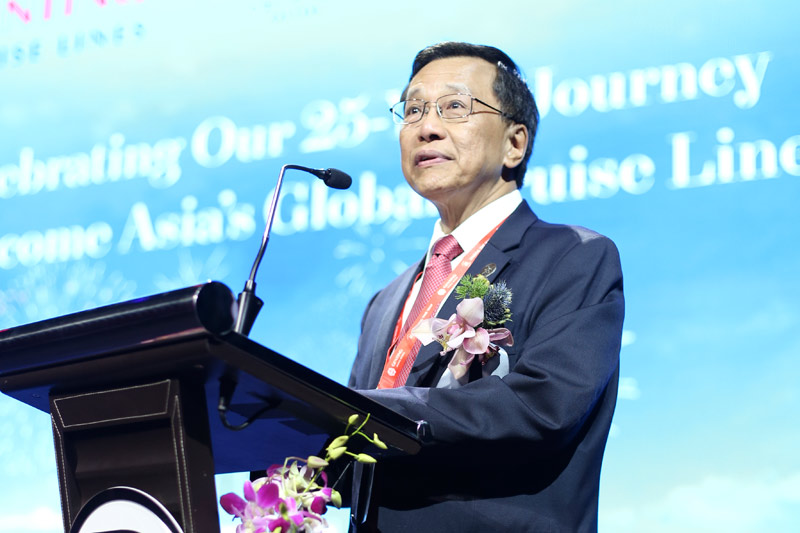Tan Sri Lim Kok Thay, Chairman and Chief Executive Officer, Genting Hong Kong, delivers his speech during Genting Cruise Lines' 25th Anniversary Celebration onboard Genting Dream