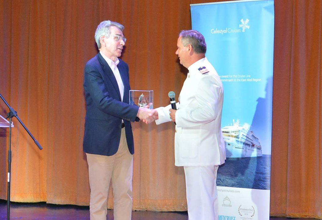 Captain Nikolaos Vasiliou of Celesytal Crystal welcomes His Excellency Geoffrey R. Pyatt, the United States Ambassador to Greece onboard the Crystal