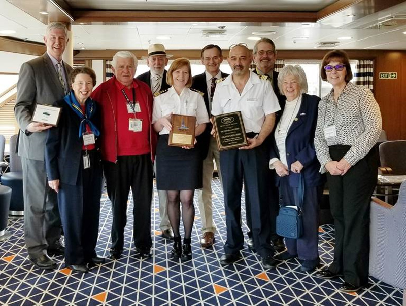 Port of San Francisco Welcomes Silver Explorer on Maiden Call, May 5, 2018 (Left to Right): Michael Nerney; Harriet Israel; Joe Dovichi; Bernie McDonald; Captain Margrith Ettlin; Bill Brockett; Chief Engineer Mariyan Monev Kozhuharov; Fred Rogers; Mim Illencik; Cathryn Lucido.