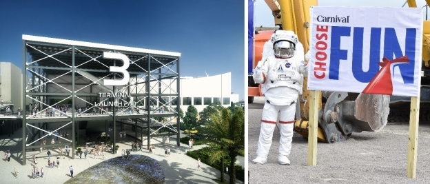 (L) Rendering of new Cruise Terminal 3 named the 'Launch Pad'  (R) NASA's 'Spaceman' revealed at CT3 groundbreaking (Photo: Canaveral Port Authority)