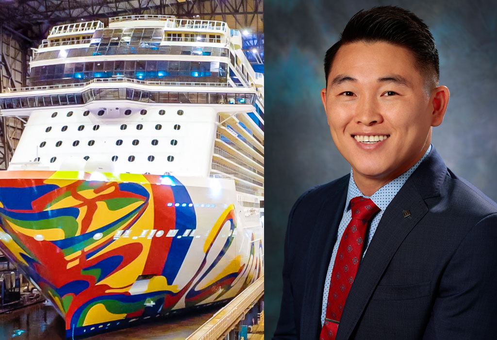 Left: Norwegian Encore; Right: James Mitchell, vice president of marine HSEM, safety, environment and medical.