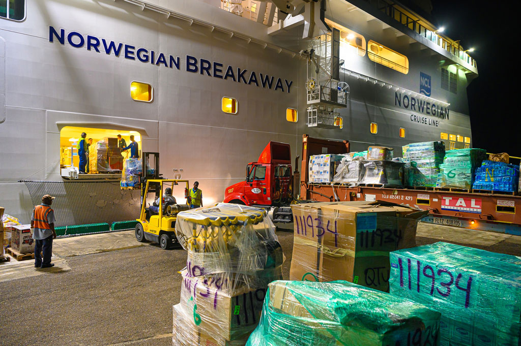 Overnight in Nassau, the NorwegianBreakaway offloaded over 300+ pallets of emergency supplies including: 118K bottles of water, 224K sq. ft. of tarp, 50K sq. ft. of plywood, 150 portable radios, 50 generators, 36 chainsaws and much more.