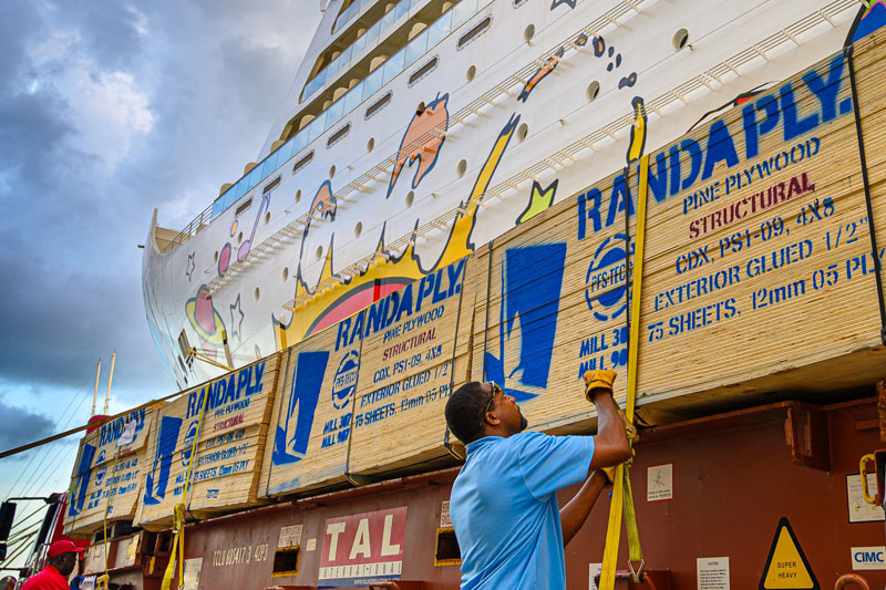 Plywood Being Offloaded in Nassau