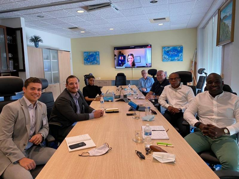 Representatives from Royal Caribbean Group and Port St. Maarten during a meeting in early April 2021.