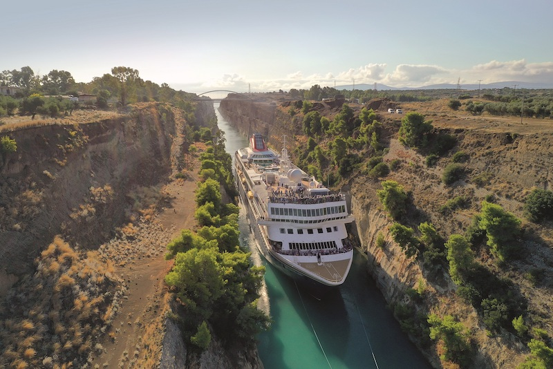 Braemar's Corinth Canal transit in October 2019 (Photo: Fred. Olsen Cruise Lines)