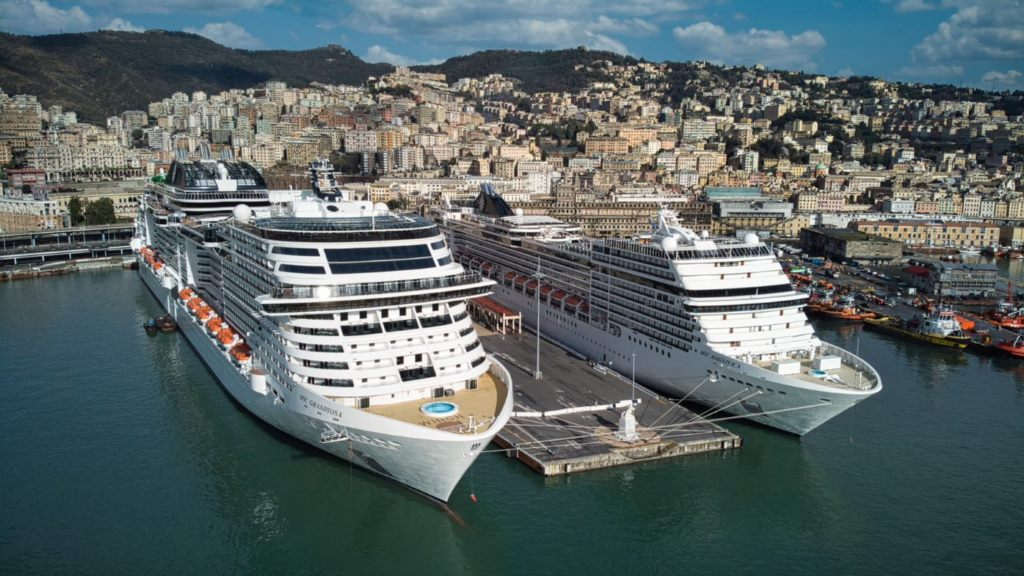 MSC Grandiosa and MSC Magnifica at Genoa