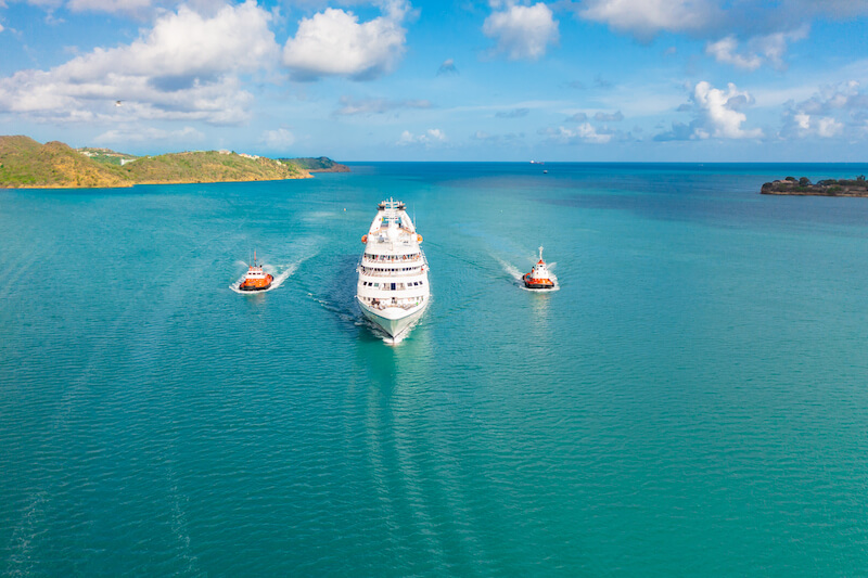 A symbolic water canon salute to welcome the Star Breeze in Antigua and Barbuda
