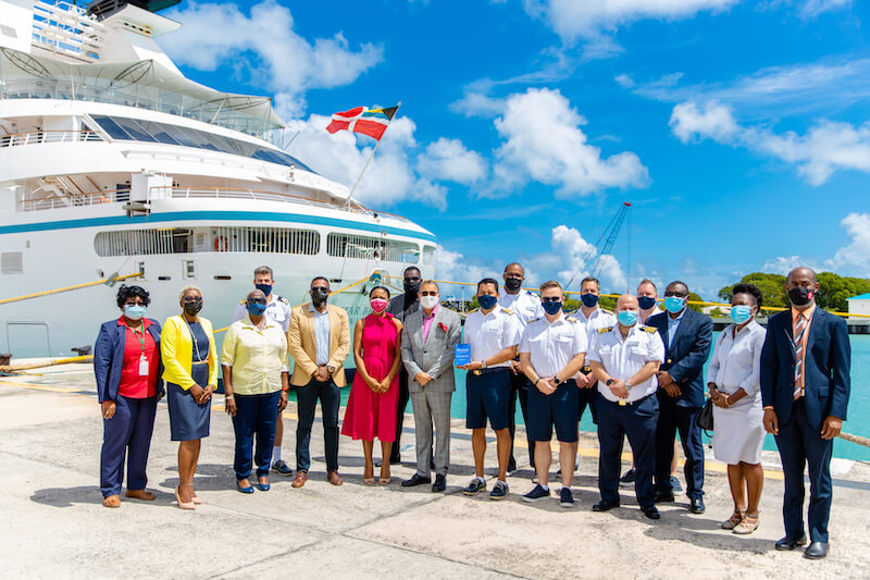The Antigua and Barbuda Welcome party included Tourism and Health Officals