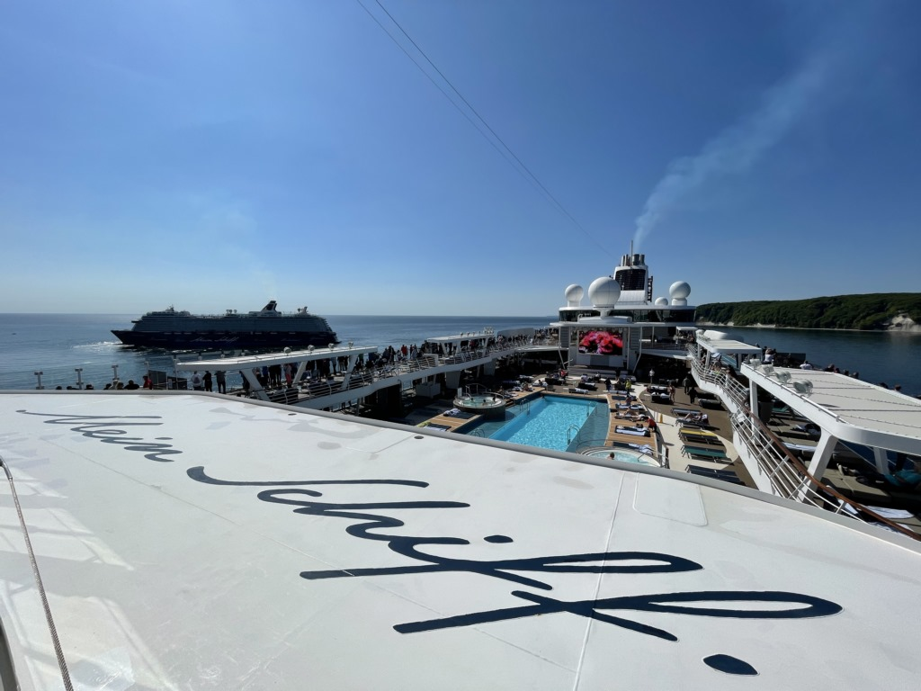 A view of a Mein Schiff, looking at another