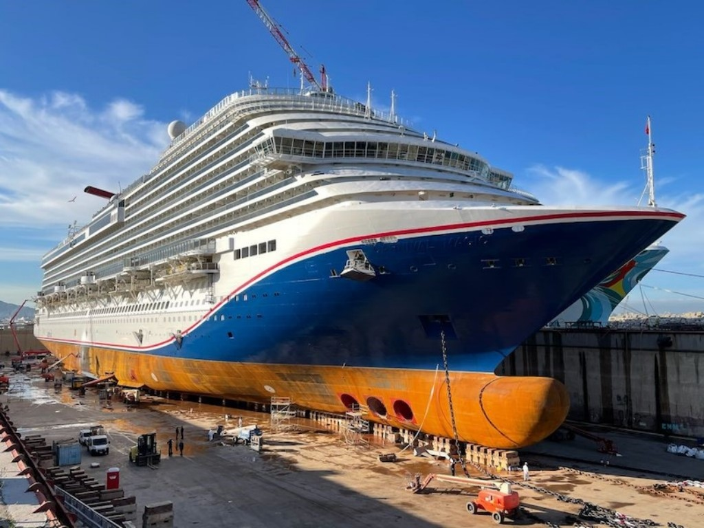 The Carnival Magic getting her new hull art livery