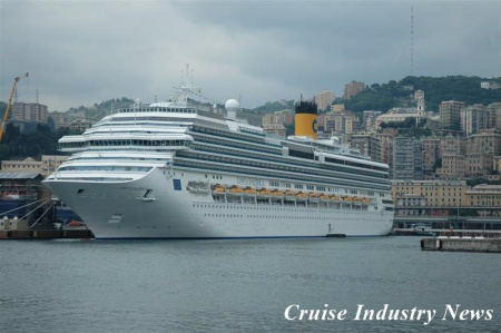 The Costa Pacifica in Genoa where she will be joined by the Luminosa for their June 5 christening.