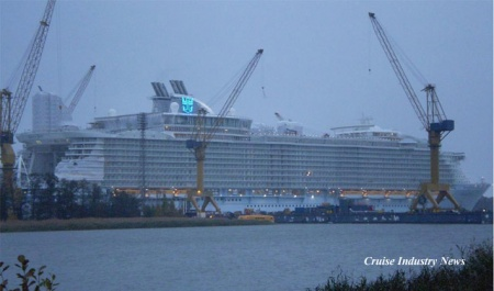 The Oasis of the Seas, only days away from delivery, at STX's Turku shipyard. (photo: Ville Hammaren)