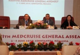 (From left) Giovanni Spadoni, president of MedCruise; Sorin Munteanu, secretary of state for regional development; and Andreea Nistor, commercial manager of the port of Constantza