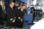 Her Majesty visits officers on the bridge before christening Queen Elizabeth