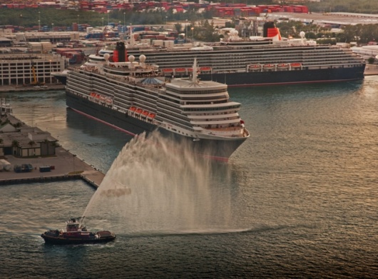 Queen Elizabeth (left) and Queen Victoria (right) in Port Everglades. Photo: Len Kaufman for Cunard Line