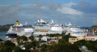 Ships in Antigua, where traffic is up.