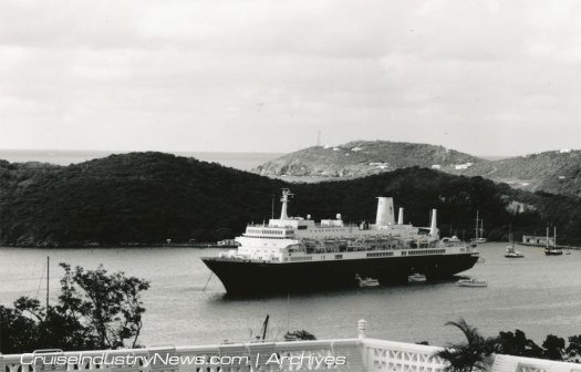 The Noordam in the Caribbean in 1990
