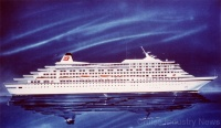 Concept drawing of the Royal Viking Sun, launched by Wartsila in Finland in 1988 and now sailing for Holland America Line as the 38,000-ton, 740-passenger Prinsendam.