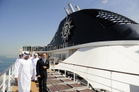 HH Sheikh Sultan Bin Tahnoon, Chairman ADTA and a delegation of industry VIPs on their tour of MSC Lirica