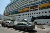 Taxis lined up for cruise passengers