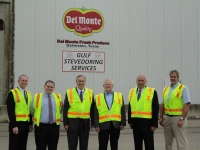 From left, Peter Simons, POG; Owen Parker, Lloyd Engineering; Mike Mierzwa,  Port Director POG; Roland Bassett, Chairman POG; Pedro Garza, EDA; Joe Wiley, Del Monte