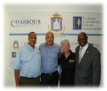 Pictured (left to right): Edward Dest, interim director of tourism for the St. Maarten Tourist Bureau; Mark Mingo, CEO of Port of St. Maarten; Michele Paige, FCCA President; and Hon. Romeo Pantophlet, Minister of Tourism & Economic Affairs.