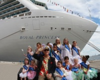 """Love Boat"" Captain Gavin MacLeod is joined by a court of young ""princesses"" who welcomed Royal Princess to Ft. Lauderdale for the first time."