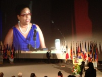 Beverly Nicholson-Doty speaking at opening ceremony of the 2013 Caribbean Tourism Conference.