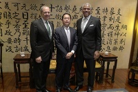 From left: Alan Buckelew, COO for Carnival Corporation; Weihang Zheng, vice president and secretary (de-facto CEO) of the CCYIA; and Arnold Donald, president and CEO of Carnival Corporation