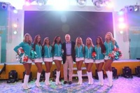 Kevin Sheehan, CEO, Norwegian, with the Miami Dolphin Cheerleaders