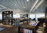 The new Yacht Club offers a chic lounge and coffee bar where guests can relax and recharge.