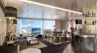Artist's renderings of the living room of the owner's suite aboard the new Norwegian Escape