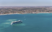 Radiance of the Seas in Geraldton, which is generally the first or last port on Western Australia itineraries.