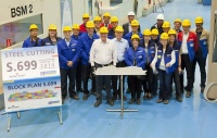 Ovation of the Seas, the third Quantum class ship, marked its official start of construction with a steel cutting ceremony at the Meyer Werft Shipyard in Germany.