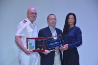Captain Pier Paola Scala (left), Kenneth Winkler (center), general manager for Ports America, and Elizabeth Shearin (left), vice president of  cruise operations for the New York City Economic Development Corporation