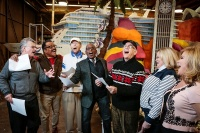 "Co-anchor of ""Today"" Al Roker, along with the cast of ""The Love Boat,"" sing the show's theme song in front of  Princess Cruises' Rose Parade float. Pictured with Roker, from left from right: Fred Grandy, Ted Lange, Bernie Kopell,  Gavin MacLeod, Lauren Tewes and Jill Whelan."