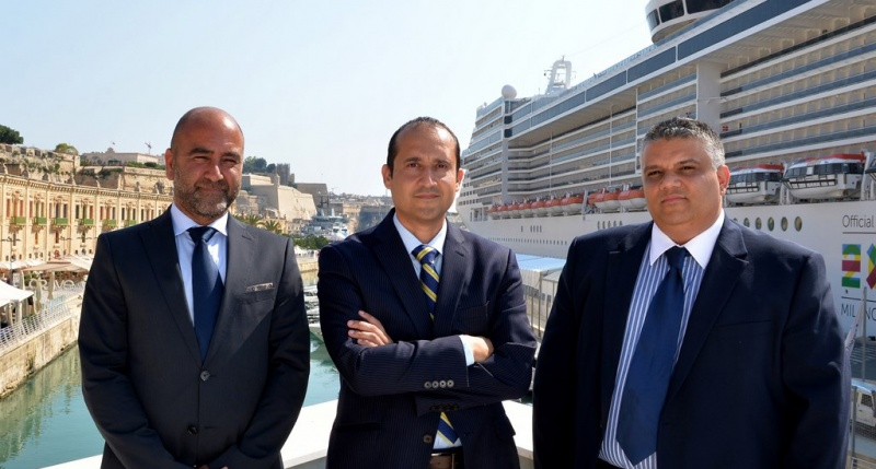 From left to right Karl Azzopardi, Head of Operations; Stephen Xuereb, Chief Executive Officer of Valletta Cruise Port; and Andre Parnis, Head of Finance and Corporate Services
