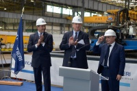 left to right: Gianni Onorato, CEO of MSC Cruises; Pierfrancesco Vago, Executive Chairman of MSC Cruises and Giuseppe Bono, CEO of Fincantieri during the steel-cutting ceremony